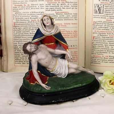 Polychrome Statue Pieta Plaster Jesus Christ Virgin Mary Holy Mother Sculpture