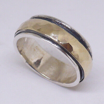 Handcrafted meditation Spinner Ring 925 Silver 9k yellow gold size 6 - 13