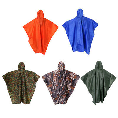 3 in 1 Military Raincoat Poncho Backpack Rain Cover Camping Tent Mat Waterproof