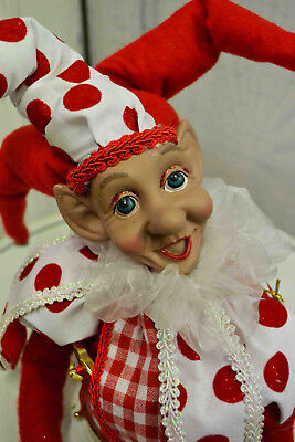 Elf, Jester, Harlequin Musical Collectable. Christmas, Holidays. Red/ White