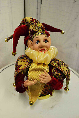 Elf, Jester, Harlequin Musical Collectable. Christmas, Holidays.burgundy Gold