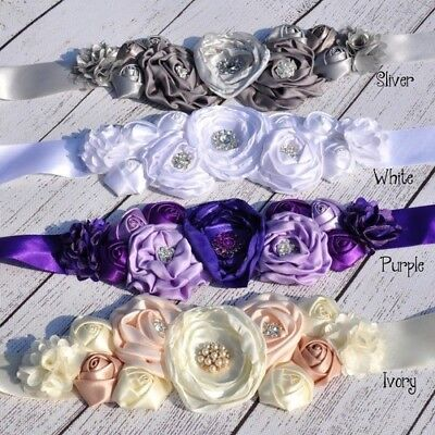 Dress Belt Satin Silk Flower Sash Wedding Waist Strap Girl Vintage Bridal Access