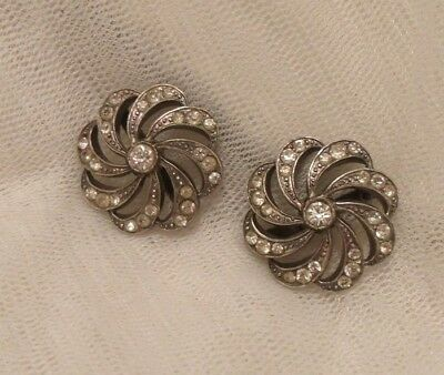 Vintage Silver Plated Colour Rhinestone Matching Pair Shoe Buckles.