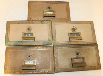 Lot of 5 Vintage Brass Post Office Box Doors National, Federal, American Lot1