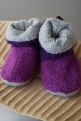 Grey Cream Baby Booties Mittens Hat Gift Set Cashmere Made In Uk