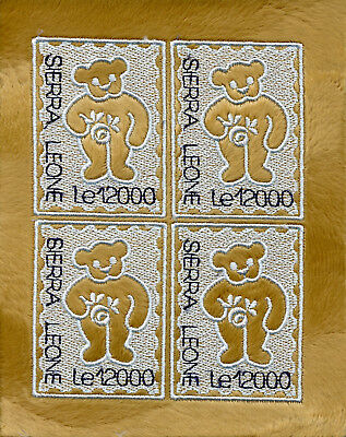 Sierra Leone 2003 MNH Embroidery Teddy Bears 4v M/S Embroidered Stamp Stamps