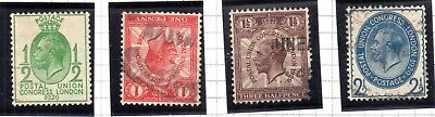 Great Britain Scott # 205-208 Complete Set of 4 Used