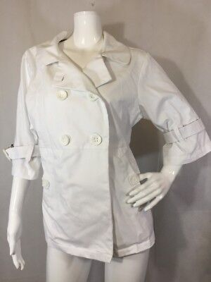 Koi by Kathy Peterson Lab Coat Women's size Medium White 3/4 sleeve Valerie 412