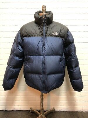 dbffb48d6 VINTAGE THE NORTH Face Black Blue Nuptse 700 Down Fill Puffer Coat Men's  Size XL