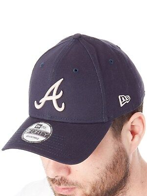 New Era Navy Stone League Essential 9Forty Atlanta Braves Curved Peak Adjustable