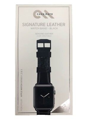 Case Mate Signature Leather Watch Band 42mm for Apple Watch 1 2 3 Black NEW