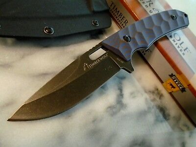"""Timber Wolf Small Blue Wave Tactical Boot Knife Full Tang G10 Kydex 639 8 1/2"""""""
