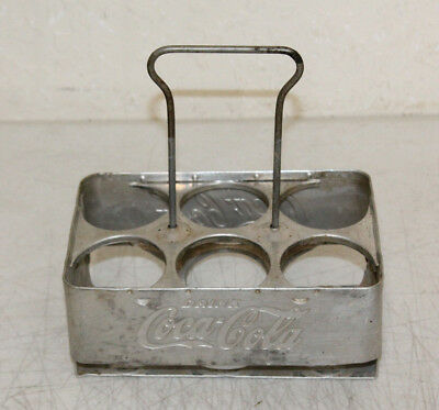 Vintage Coca-Cola Aluminum Six Pack Soda Bottle Metal Carrier Case HOLDER #3