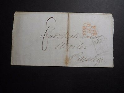 1819 Edinburgh to Paisley Folded Letter Stampless Cover - Great Item!