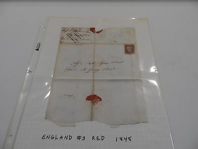 Great Britain Scott Number 3 Folded Envelope / Cover with Wax Seal & Box Cancel