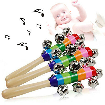 Rainbow Musical Instrument Toy Wooden Hand Jingle Ring Bell Rattle Kids Gift GT