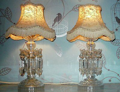 Antique Vintage Pair Lead Crystal Table/ Bedside Lamps