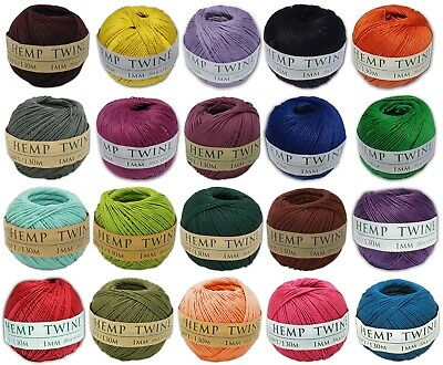 20 Different Colors Hemp Twine 1mm Cord Rope String 430 Feet Variety Pack
