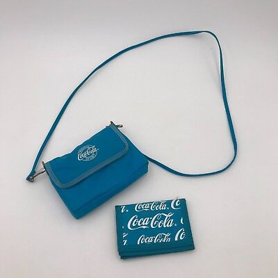 Vintage Blue Nylon Coca Cola Purse & Wallet Set