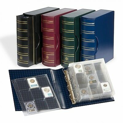 Graded Coin Slabs NGC PCGS ICG 4 Rings Album For 54 Coins 6 Encap Pages - Black