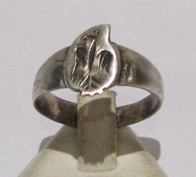 Amazing Post-Medieval Silver Ring With Engraving Eagle On The Top # 31