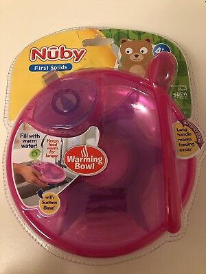 Nuby warming bowl with spoon BPA free suitable from 4 months Pink