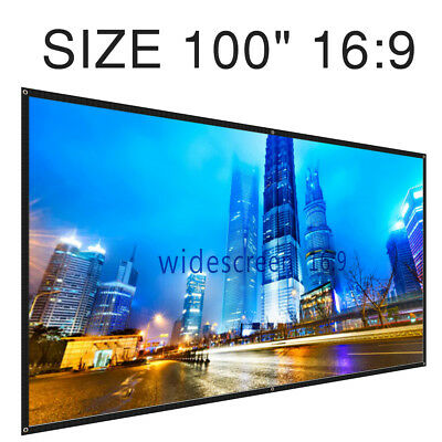 "Projector Projection Screen 100"" 16: 9 Portable, Foldable Wall Ceiling Mount"