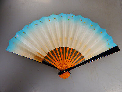 "10"" Antique Vintage Japanese Hand Fan, Bamboo & Paper, White & Blue, Nice!!!"