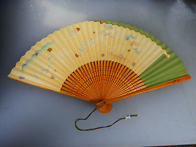 "14"" Antique Vintage Japanese Hand Fan, Bamboo & Paper, Two Sided, Beautiful!!"