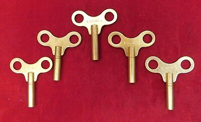 Set of 5 Clock Winding Keys 3.25 mm #4 NEW Savers Lot Solid Brass Number 4 Size