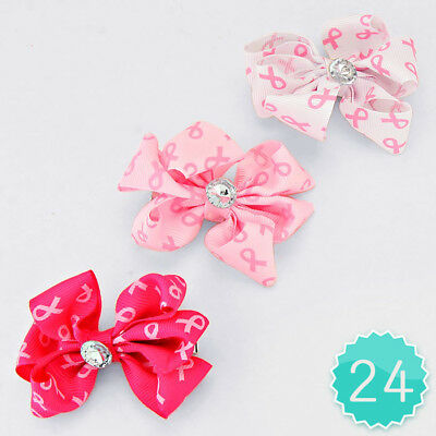 24 Piece 3-inch Pink Ribbon Crystal Accented Hair Bow Clips Wholesale Lot Cute