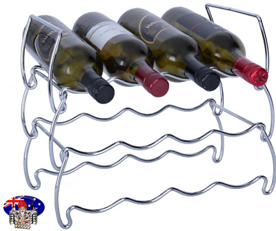 12 Bottle CHROME Crafted Wire Display Wine Rack - Barware Kitchenware Wine Racks