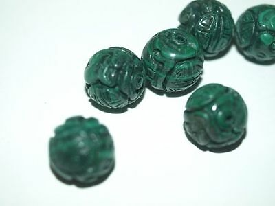 Vintage Chinese Carved Green Malachite Focal Bead with Shou Design 15mm - 16mm