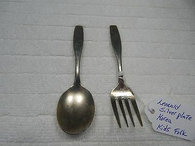 Vintage! Leonard Silver Plate Fork & Spoon Kids Set Made In Korea