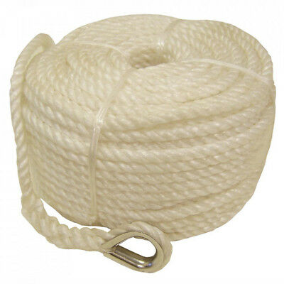 8Mm X 50M  Silver Anchor Boat Rope Mooring Line Stainless Thimble Fishing Yacht