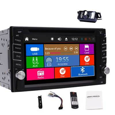 Double 2 Din Stereo FM AM Car Radio Navi DVD Player Bluetooth Sub USB Camera