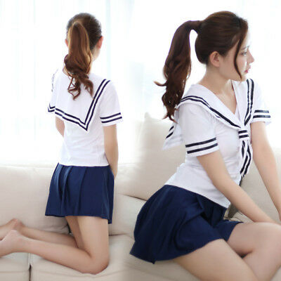 f1fc2e3ea54 WOMEN SEXY SAILOR Japan School Girl Uniform Fancy Dress Cosplay Costume  Lingerie