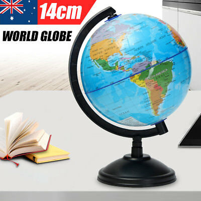 14cm Swivel Stand World Globe Map Blue Ocean Geography Educational Kids Toy Gift