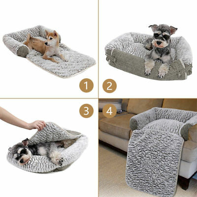 S/M Size Pet Dog Cat Sofa PV Cozy Sheepskin Fold Out Couch/Chair Protector Grey