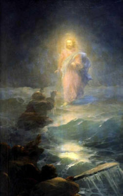 Perfect Oil painting Ivan Constantinovich Aivazovsky Christ Walking on the water