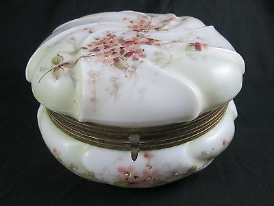Antique Victorian Signed Monroe Wave Crest Art Glass Dresser Jar Hand Painted