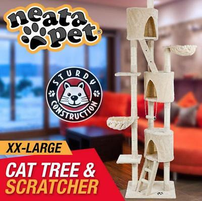 262cm Cat Tree House Furniture Scratcher Pole Gym Multi Level Scratching Post