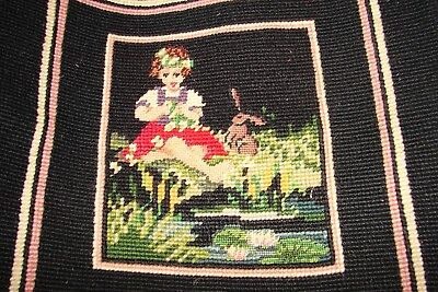 Vintage Finished Embroidery Charming Girl with Bunny Rabbit Cottage Charm