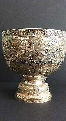 Large Antique Thai  Silver Bowl with Base, Siam, circa 20th Century