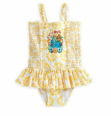 NWT Disney Store Frozen Elsa and Anna Yellow Swimsuit Girls Size 4 5/6 7/8 9/10