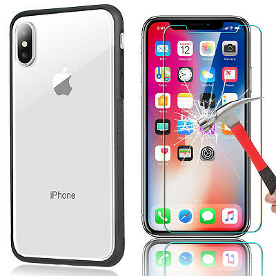 For iPhone X 8 7 6s 6 iPhoneX Slim Transparen Clear Shockproof Bumper Case Cover