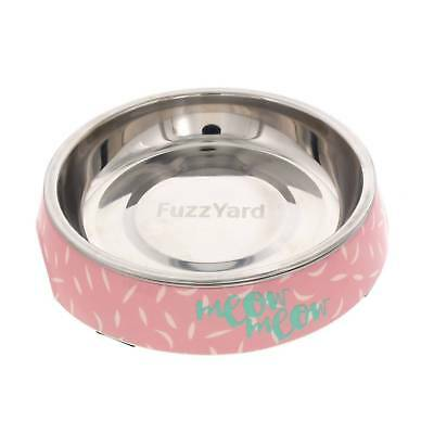 Fuzzyard Cat Bowl Featherstorm Pink Teal With Rubber Base Melamine Design