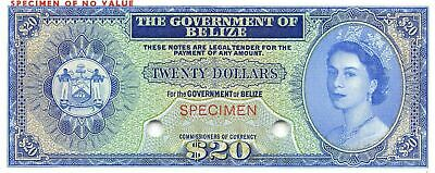 Belize  $20  ND.  1.1.1974   P 37 ct.  Specimen  Uncirculated Banknote