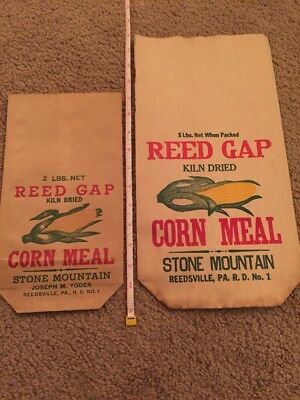 Reed Gap Corn Meal Paper Feed Bags Sacks Reedsville PA Mill Textile Rare