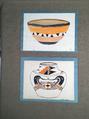 Antique Native American Indian Ledger Drawing Pottery New Mexico 1920s-30s